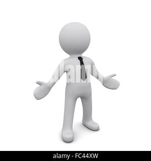 Three-dimensional man in a black tie isolated on a white background. Gesture of surprise.Series '3D Man' - Stock Photo