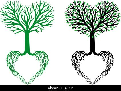 tree of life, heart shaped branches and roots, vector illustration - Stock Photo