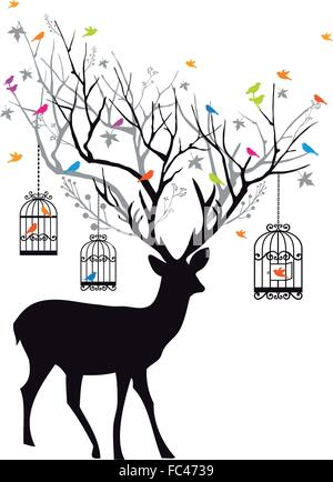 deer with tree antlers, birdcages and birds, vector illustration - Stock Photo