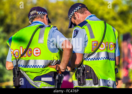 Two Victoria Police officers in Melbourne Australia - Stock Photo