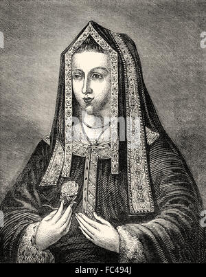 Elizabeth of York, 1466-1503, queen consort of England from 1486 until her death, wife of Henry VII - Stock Photo