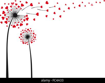 love is in the air, dandelion with flying red hearts, vector illustration - Stock Photo