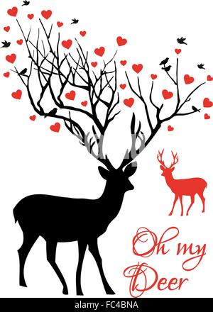 Oh my deer, stag and doe couple with red hearts, vector illustration - Stock Photo