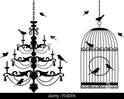 vintage chandelier and birdcage with birds, vector illustration - Stock Photo