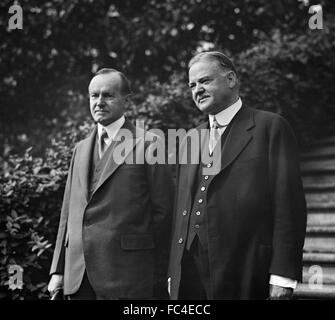 Calvin Coolidge, the 30th President of the United States, and Herbert Hoover, the 31st President (US Secretary of - Stock Photo