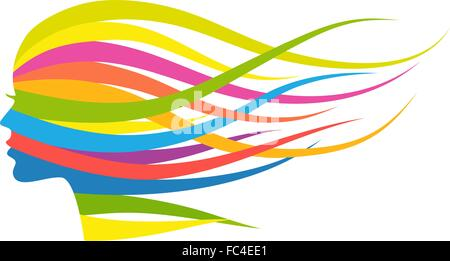 Woman with flowing multicolored long hair, vector illustration - Stock Photo