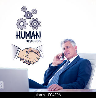 Composite image of businessman having a phone call - Stock Photo