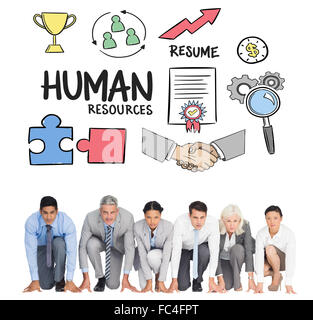 Composite image of business people preparing to run - Stock Photo