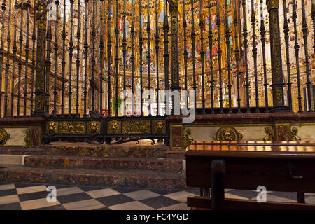 Interior of Cathedral in Toledo Spain - Stock Photo