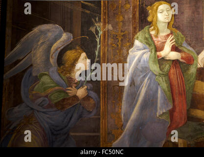 ROME, ITALY - january 10, 2016: A detail of the fresco of Filipinno Lippi  in the churc of Santa Maria sopra Minerva - Stock Photo