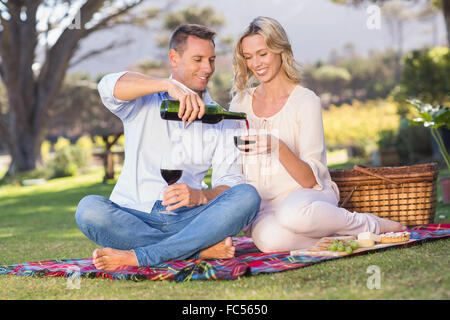 Smiling couple sitting on picnic blanket and pouring wine in glass - Stock Photo