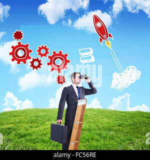 Composite image of businessman looking on a ladder - Stock Photo