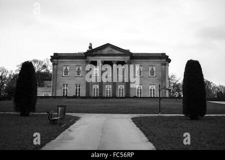 The Mansion in black and white at Roundhay Park, Leeds. - Stock Photo