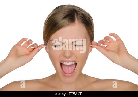 wailing woman cleans ears with cotton sticks - Stock Photo
