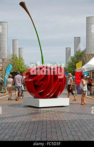 Cherry Arts sculpture (by Garrett Brown), 2015 Cherry Creek Arts Festival, Denver, Colorado USA - Stock Photo