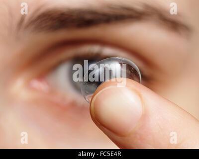 Dirty lens surface - danger for eyes - Stock Photo