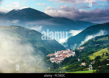 rolling countryside on sunrise near Preci in the Valnerina, Umbria, Italy - Stock Photo