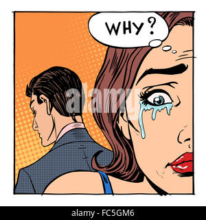 Woman crying said why the outgoing man - Stock Photo