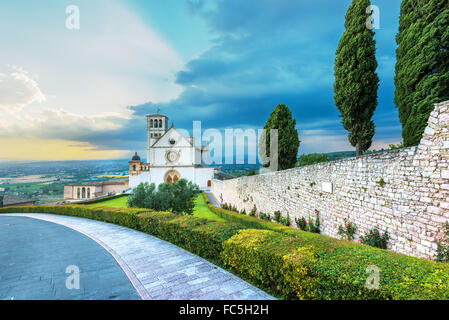 Basilica of St. Francis of Assisi in Umbria, Italy - Stock Photo