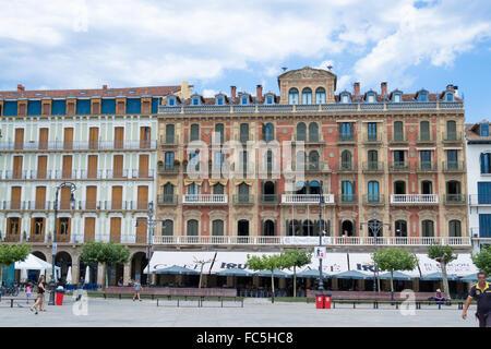 Plaza del Castillo in Pamplona - Stock Photo