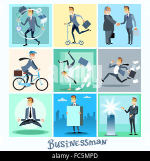 Set businessman collection business situations - Stock Photo