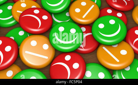 Business quality service customer feedback, rating and survey with emoticon symbol and icon on badges. - Stock Photo