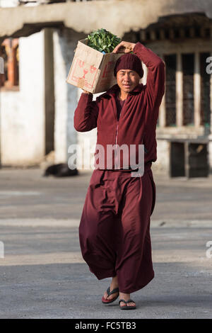 Monk Carrying Vegetables at Buddhist Monastery, Jakar, Bumthang, Central Bhutan, Asia - Stock Photo