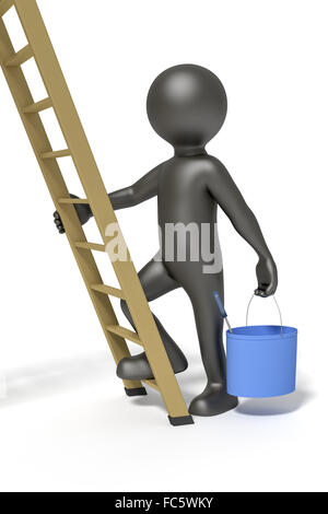 man and ladder - Stock Photo