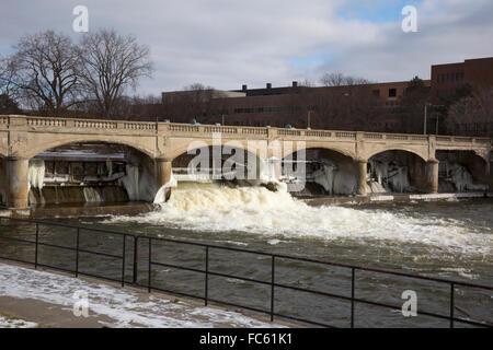 Flint, Michigan - The Hamilton Dam on the Flint River. - Stock Photo