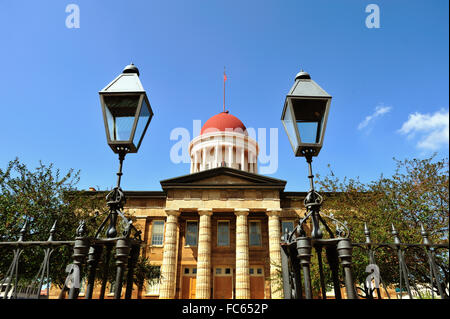 The Old State Capitol Building entrance and dome as seen past its entry gate and vintage lights in Springfield, - Stock Photo