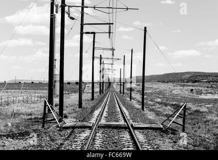 Railroad tracks in monochrome - Stock Photo