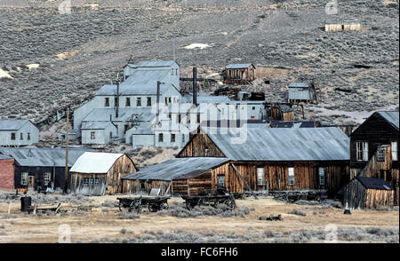 Visitors can explore a famous California ghost town called Bodie, which gained fame and fortune in the 1870s because - Stock Photo