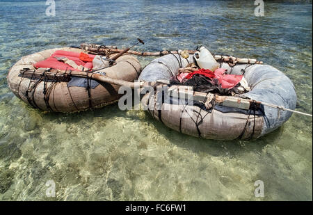 Refugees from Cuba abandoned this makeshift raft after making a 90-mile ocean journey to reach the United States - Stock Photo