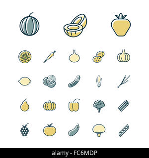 Thin line icons for fruits and vegetables - Stock Photo