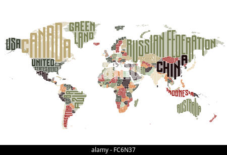 World map made of typographic country names - Stock Photo