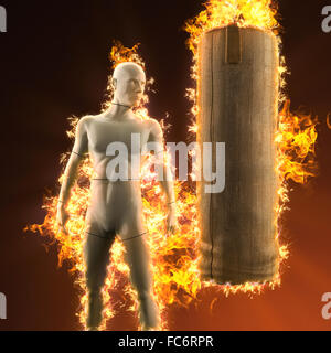mannequin with punching bag in fire - Stock Photo