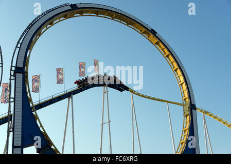 rollercoaster with looping - Stock Photo