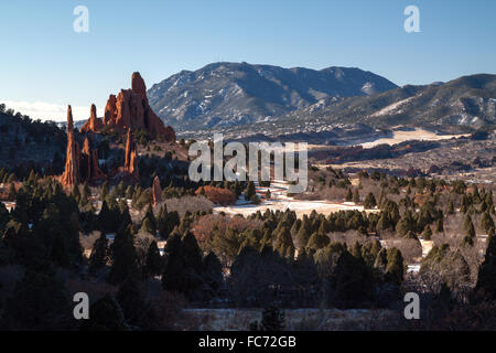 The Three Graces, Cathedral Spires, and Sleeping Giant in Garden of the Gods Park, Colorado Springs, Colorado, in - Stock Photo