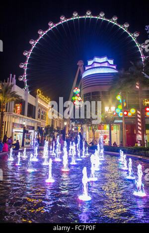 The High Roller at the Linq, a dining and shopping district at the center of the Las Vegas - Stock Photo