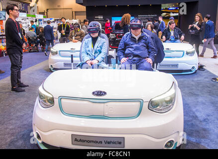 the kia booth at the ces show in las vegas stock photo