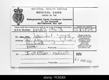 National Health Service medical card dated 27th June 1983 - Stock Photo