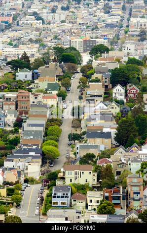 Aerial view of a typical San Francisco hill landscape. A view of the architecture, and steep incline street in California, - Stock Photo