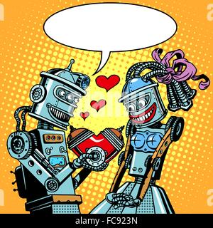 Robots man woman love Valentines day and wedding - Stock Photo