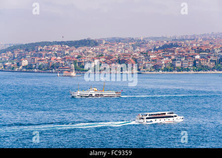 Asian side of Istanbul across the Bosphorus Strait seen from The Topkapi Palace, Istanbul, Turkey, Europe - Stock Photo