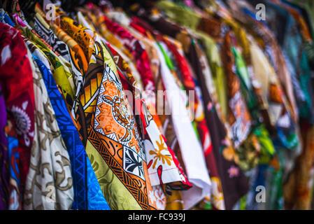 Hawaiian shirts for sale at Rarotonga Saturday Market (Punanga Nui Market), Avarua Town, Cook Islands, South Pacific, - Stock Photo