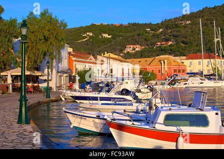 Gaios Harbour, Paxos, The Ionian Islands, Greek Islands, Greece, Europe - Stock Photo