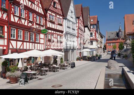 Half-timbered houses, Town Hall, Ochsenfurt, Mainfranken, Lower Franconia, Bavaria, Germany, Europe Stock Photo