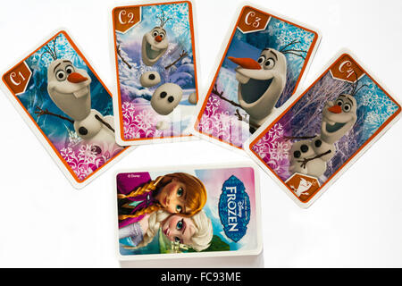 Frozen Happy Families playing cards showing Olaf family isolated on white background - Stock Photo