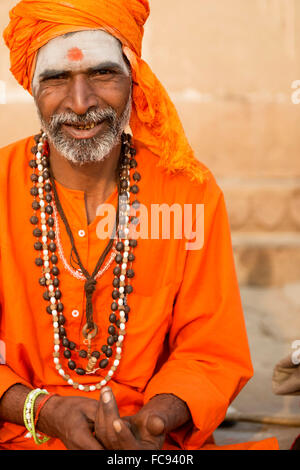Sadhu on the banks of the Ganges, Varanasi (Benares), Uttar Pradesh, India, Asia - Stock Photo