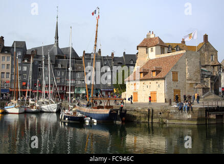 Vieux Bassin with yachts and the Lieutenancy building, Honfleur, Normandy, France, Europe - Stock Photo
